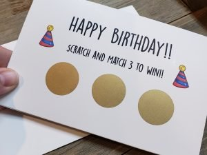 happy birthday scratch and match 3 to win scratch off greeting card