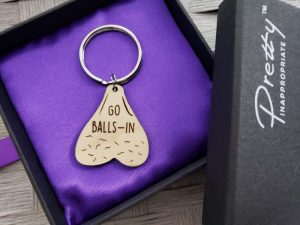 Go balls in testicle keychain