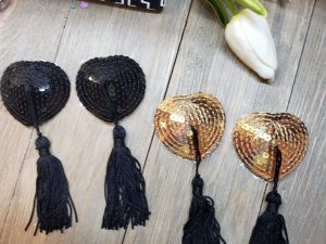 black and gold nipple tassels